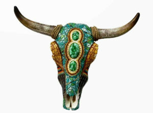 Mosaic Effect Bison Skull Wall Plaque Ornament Home Decoration Sculpture Art