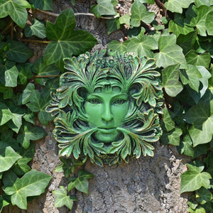 Green Man Lady of the Forest Wall Plaque Pagan Wiccan Garden Ornament Decoration