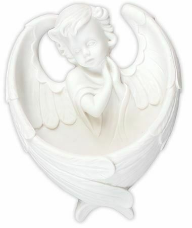 White Guardian Angel Holy Water Font Angel Wings Religious Ornament Decoration