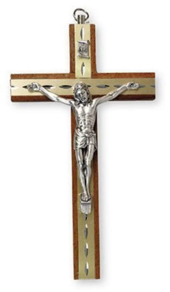 Mahogany Wood Crucifix Cross Wall Hanging Religious Decoration