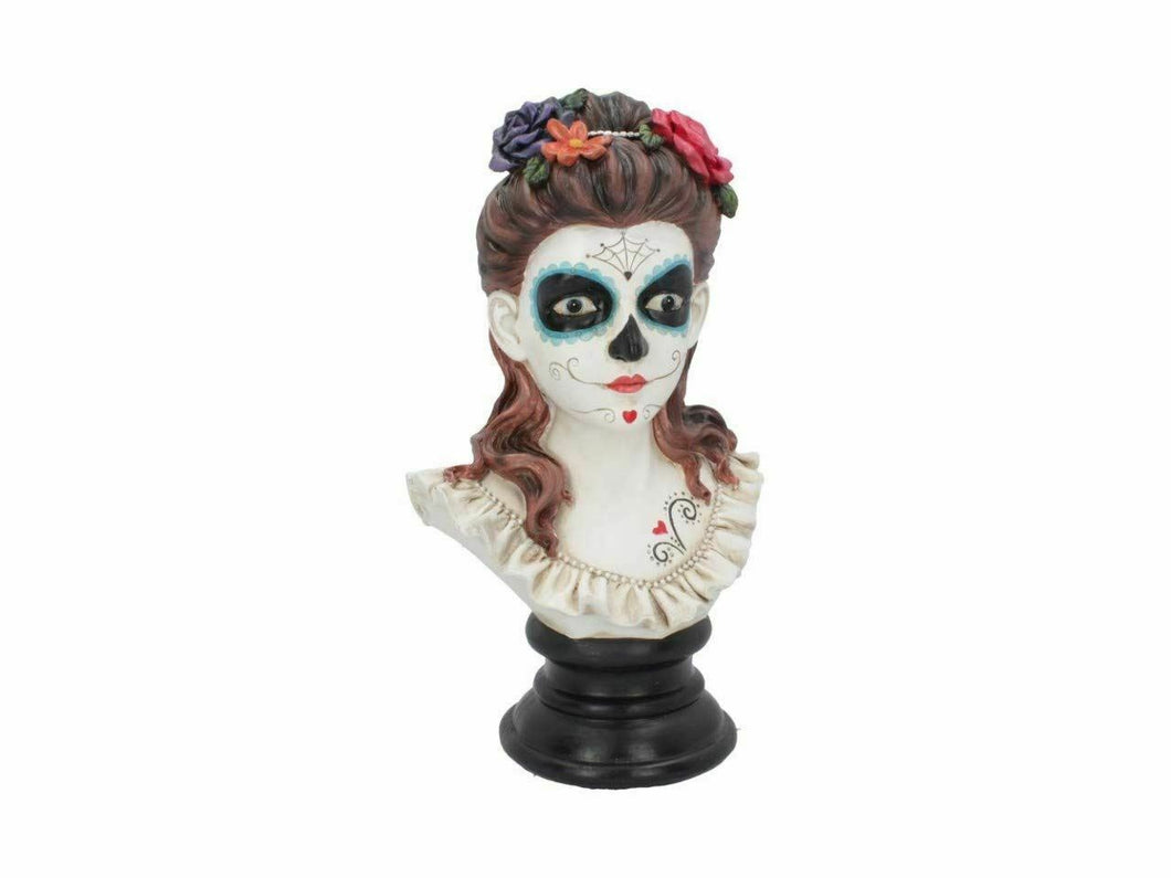 Day of the Dead Flores De Los Muertos Gothic Female Bust Skull Sculpture 30.8cm