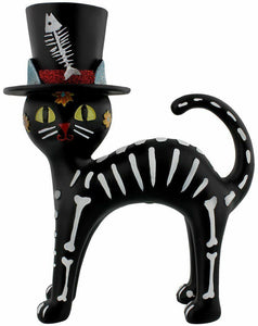 Day Of The Dead Cat In The Hat Black Ornament 20cm