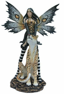 Large Fairy and Leopard Companion Sculpture Statue Mythical Creatures Figure