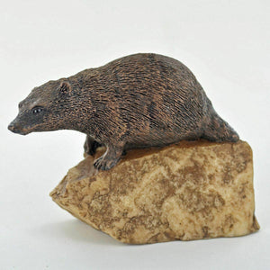 Badger on a Stone Small Figurine Statue Sculpture Animal Gifts Figures