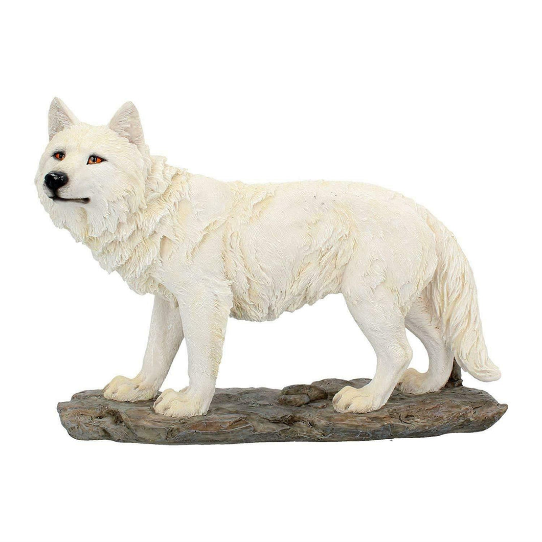 White Wolf Figurine Statue Sculpture Wolves Ornament Collectable Gift