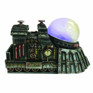 The Prodigious Land Train Steampunk Engine with LED Light Figurine Ornament