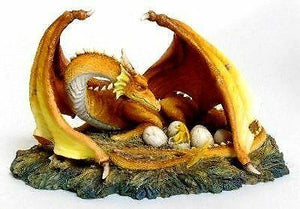 Mother Dragon Guarding Hatching Eggs Figurine Ornament Fantasy Figure