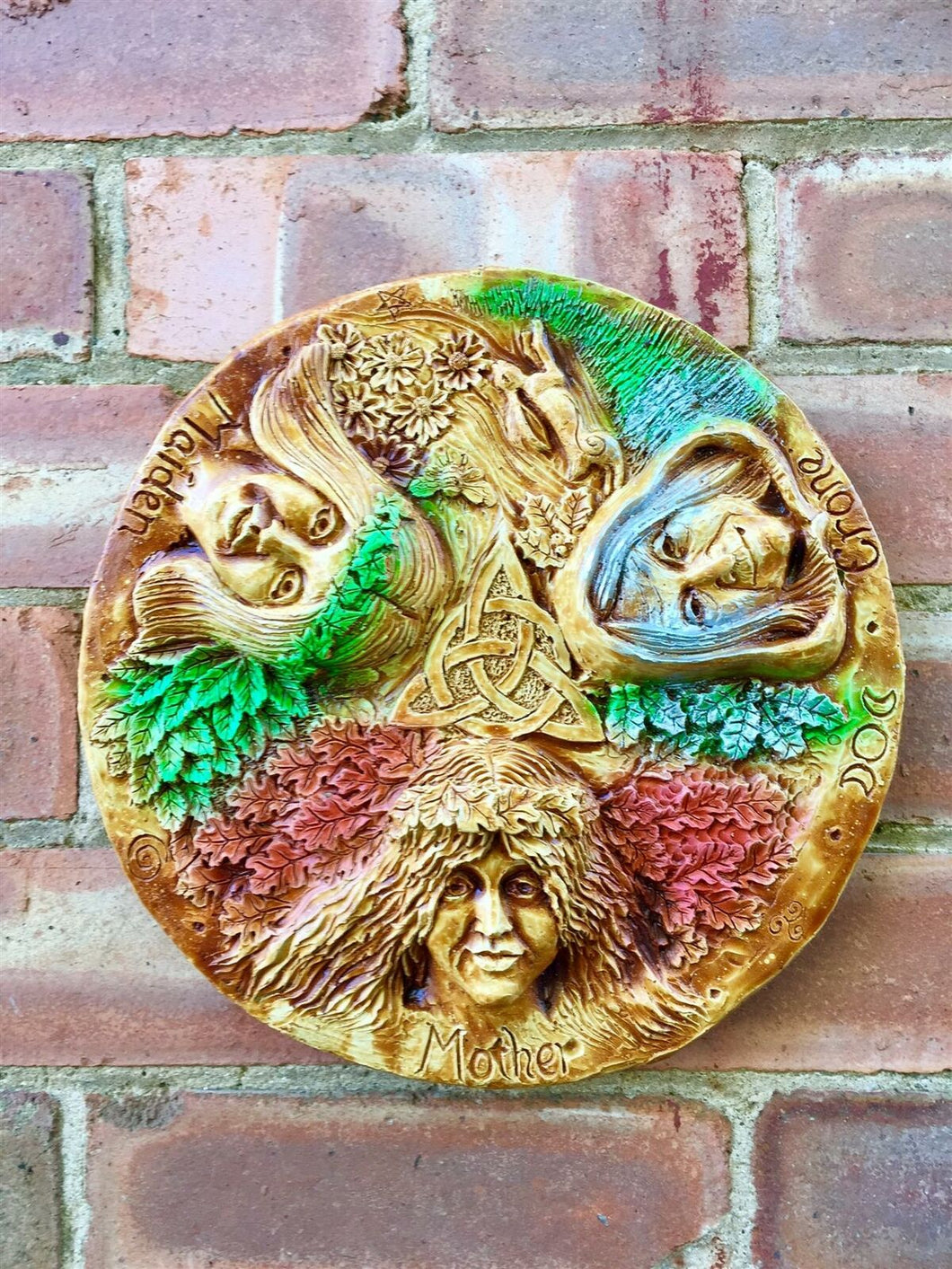 Pagan Wheel of the Year Triple Moon Goddess Wall Plaque Wiccan Altar Sculpture