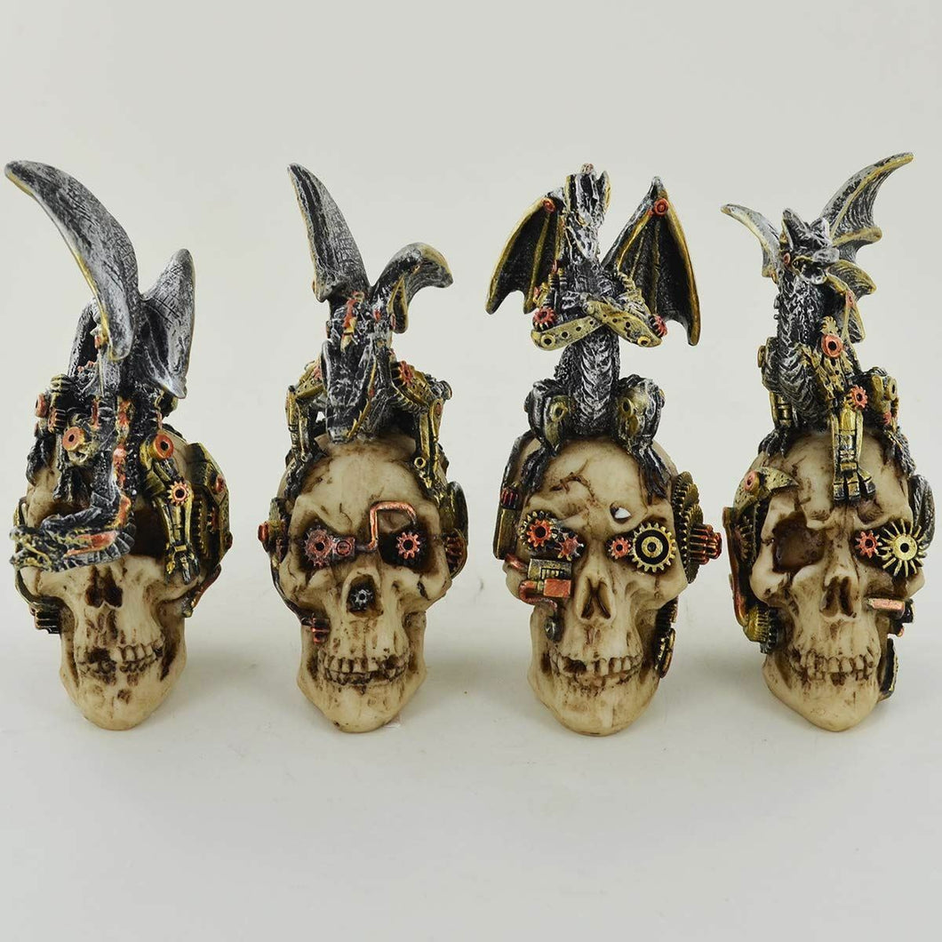 Four Skulls with Dragons Ornament Gothic Figurines Decorations for Study Office