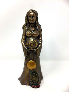 Pagan Wiccan Mother Figurine Female Statue Bronze Effect Art Sculpture Altar