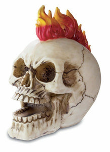 Gothic Skull with Flame Mohawk 18 cm