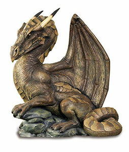 Horned Dragon Resting on the Rocks Fantasy Art Figurine Statue Ornament