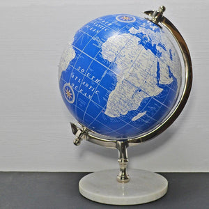 "World Globe in Blue & White 8"" with Marble Base Map Decoration Ornament Study"