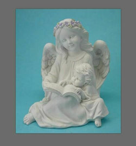 Guardian Angel Figurine Cherub Reading Book Statue Ornament Sculpture Gift