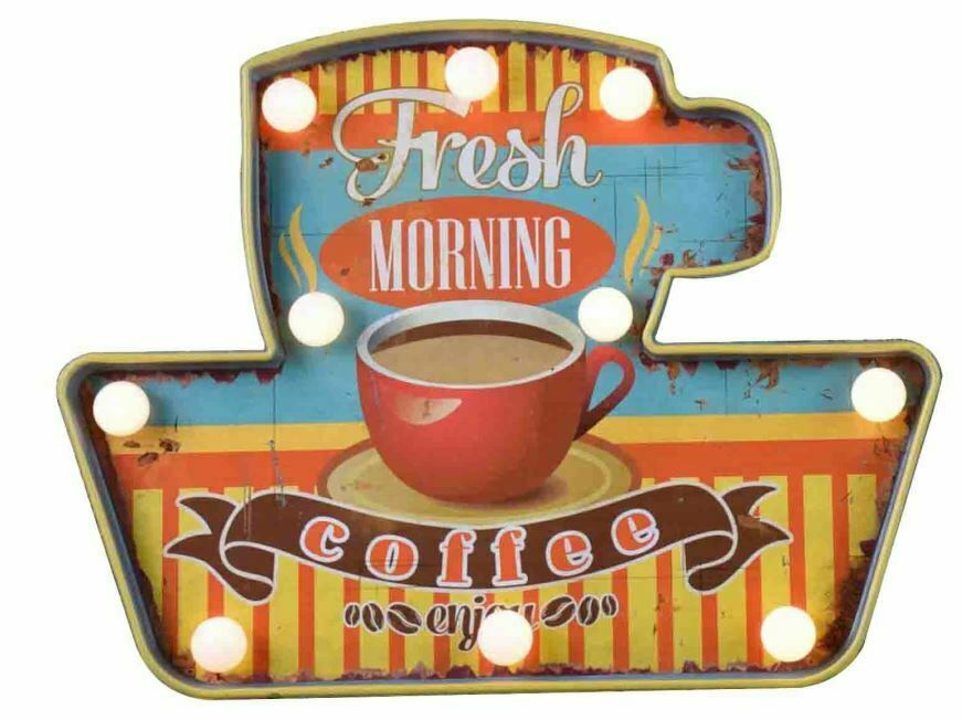 Vintage Metal 3D LED Logo Sign Kitchen Lounge Coffee Wall Plaque Shabby Chic