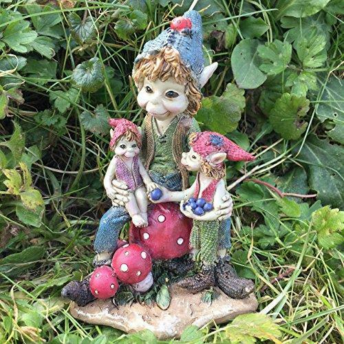 Pixie Family Sculpture Garden Ornament Pixies Statue Lawn Decoration