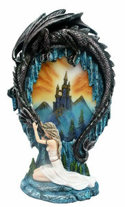 Novelty Maiden Comforting Dragon Guardian Diorama Ornament Decoration Figurine