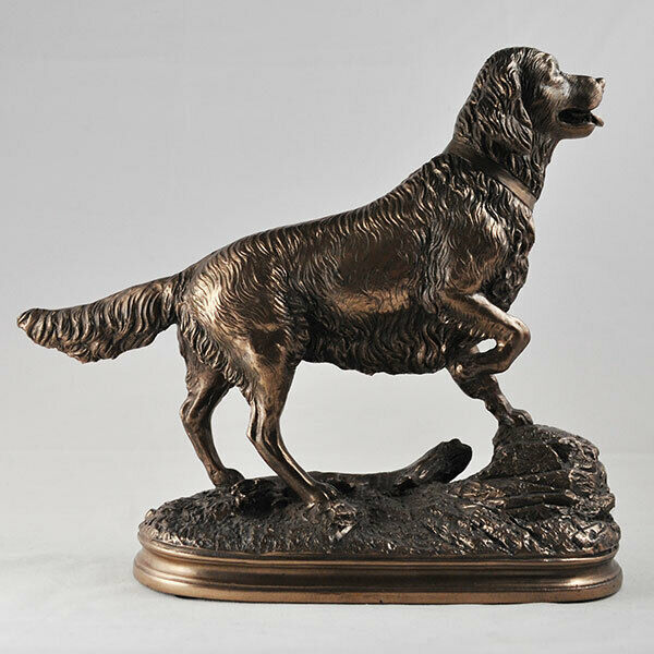 Bronze Effect Sculpture Standing Golden Retriever Dog Statue Ornament Figure