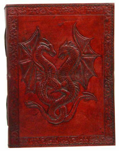 Leather Embossed Double Dragon Journal Wiccan Pagan Book of Shadow