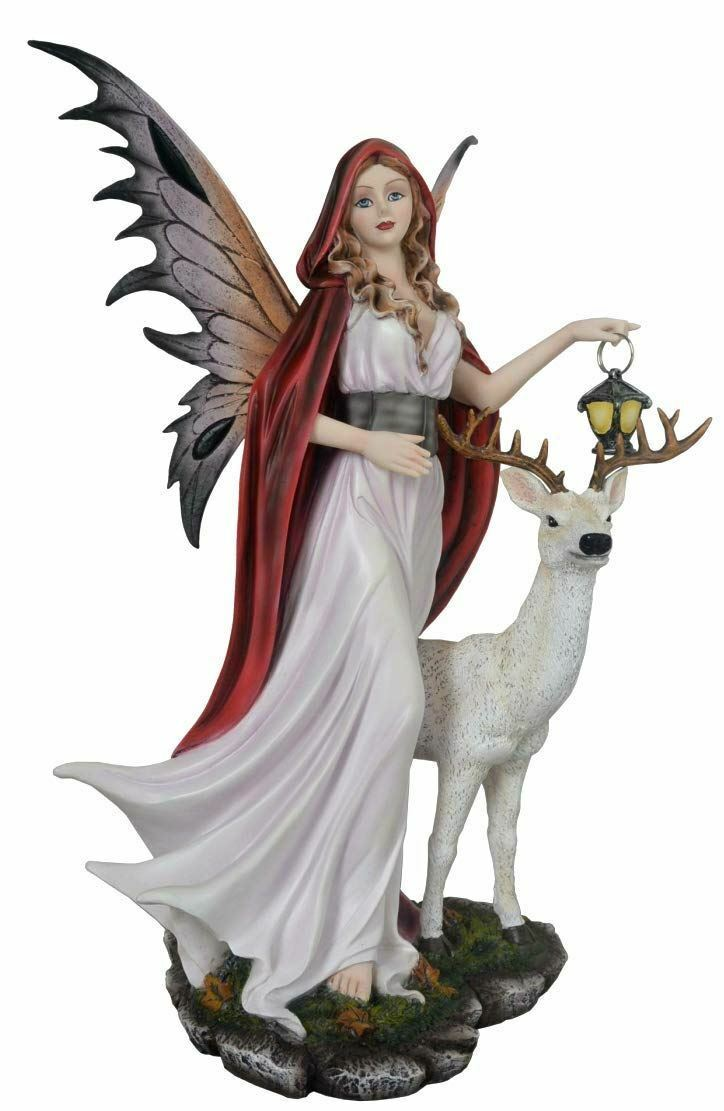Large Midnight Fairy Standing with Stag Display Figurine Statue Ornament 34.5 cm
