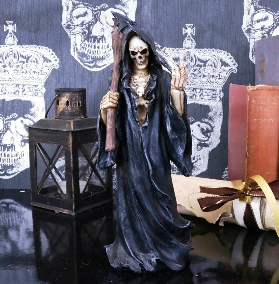 Grim Reaper with Finger Sign Gothic Statue Sculpture Ornament Horror