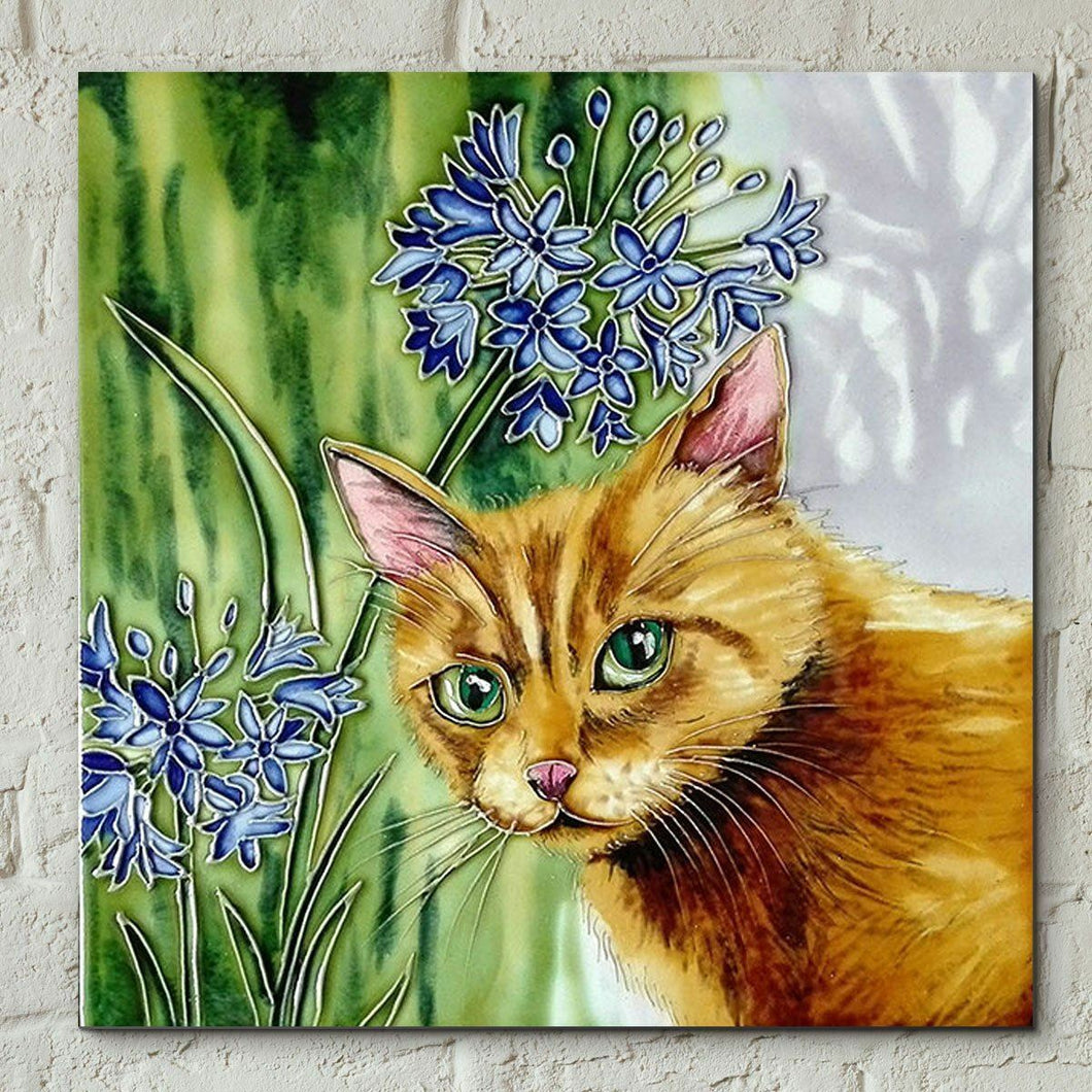 Ginger Cat in Agapanthus Judith Yates Ceramic Tile 8x8 Decor Wall Plaque