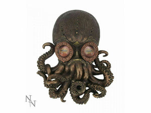 Steampunk Bioctopus Bronze Octopus Wall Plaque Fantasy Art Ornament 34cm