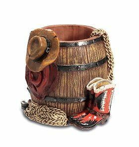 Novelty Western Pen Pot Cowboy Wild West Style Desktop Tidy Office Decor
