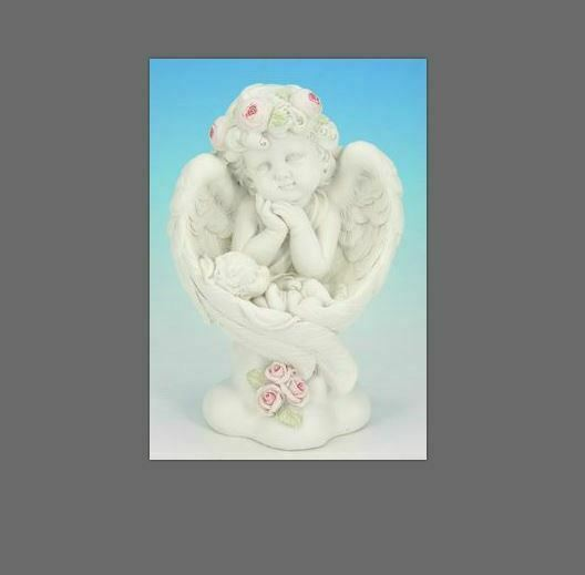 Guardian Angel Figurine Cherub Resting in Wings Statue Ornament Sculpture Gift