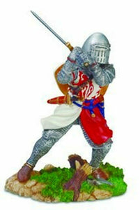 Templar Knight with Sword Figurine Crusader Ornament Statue Sculpture Figure