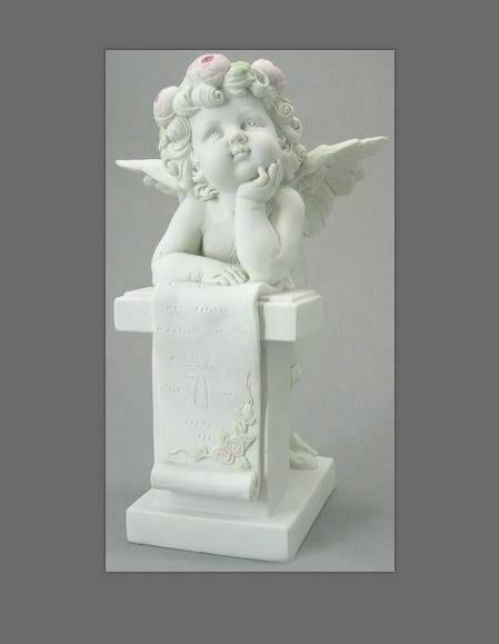 Guardian Angel Figurine Cherub with Scroll Statue Ornament Sculpture Gift