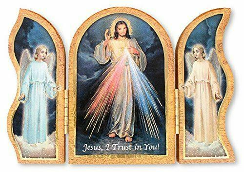 Triptych Divine Mercy Folding Plaque Jesus Religious Decor Home Church Chapel