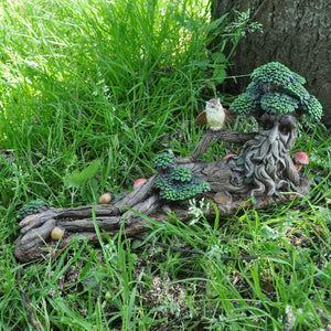 Tree Ent Lying Down with Owl Greenman Sculpture Garden Ornament