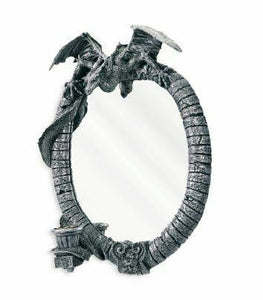 Stone Effect Dragon Mirror Gothic Gift Wall Art Ornament Candle Holder