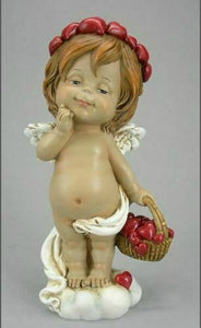Guardian Angel Figurine Cherub Holding Basket of Hearts Statue Ornament Gift