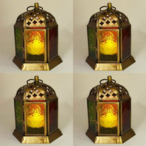 Set of Four Moroccan Style Lanterns Brass Antique Tea Light Candle Holders