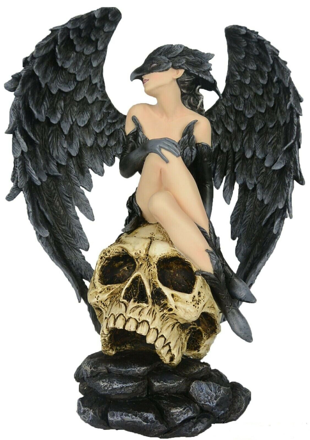 Gothic Witch Dark Fairy Fallen Angel Resting on Skull Succubus Statue Ornament