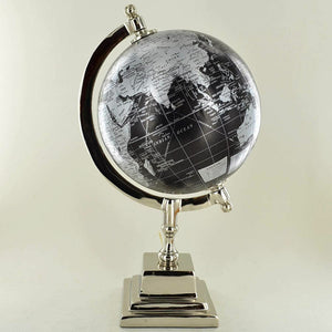 "Black and Silver Globe Metal Chrome Base Map 6"" Ornament for Study Office"