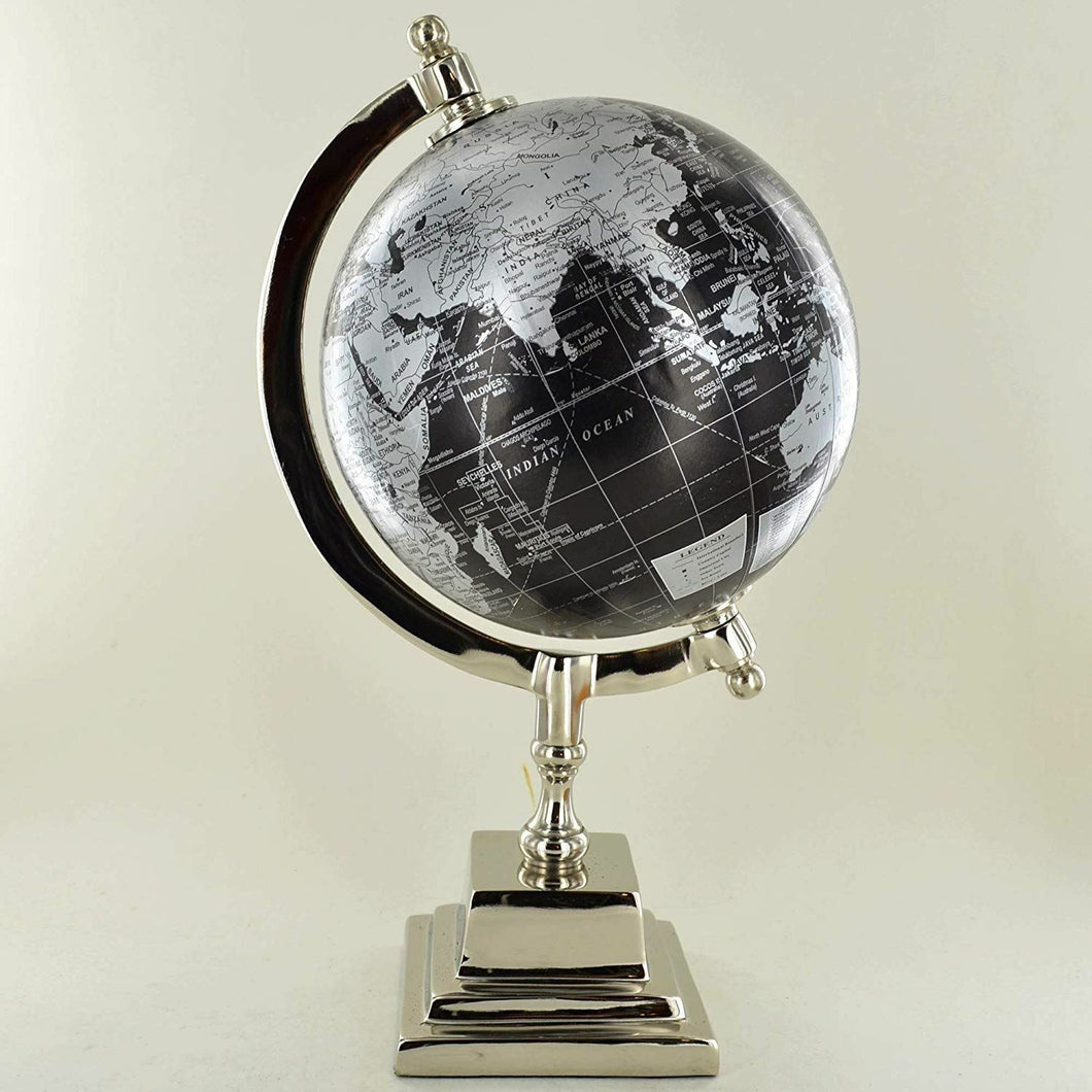 Black and Silver Globe Metal Chrome Base Map 6