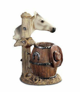 Novelty Western Barrel and horse Pen Pot
