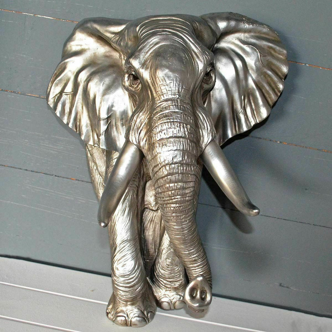 Large Antique Silver Effect Elephant Wall Plaque Bust Home Decor Sculpture Gift
