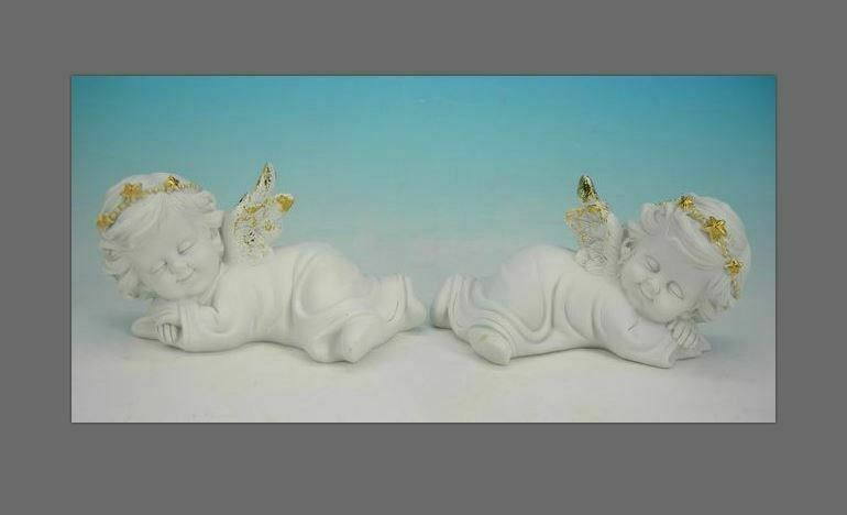 Pair of Resting Guardian Angel Figurine Cherubs Statue Ornament Sculpture Gift