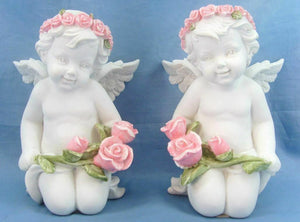Pair of Guardian Angel Figurine Cherubs Holding Roses Statue Ornament Sculpture