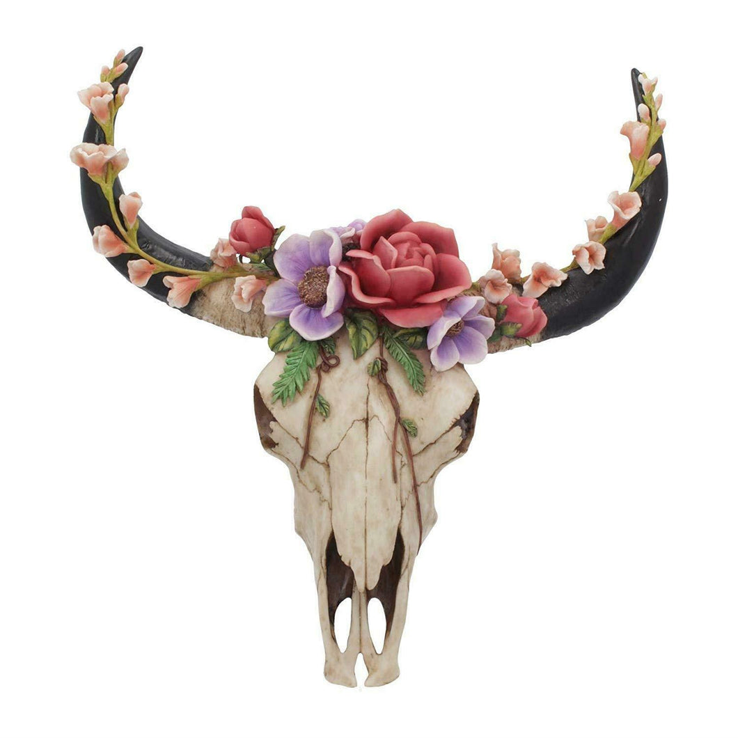 Large Bison Skull with Wild Flowers Wall Plaque Sculpture