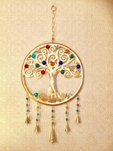 Tree of Life Wind Chime with Bells Wiccan Pagan Decor Wall Hanging