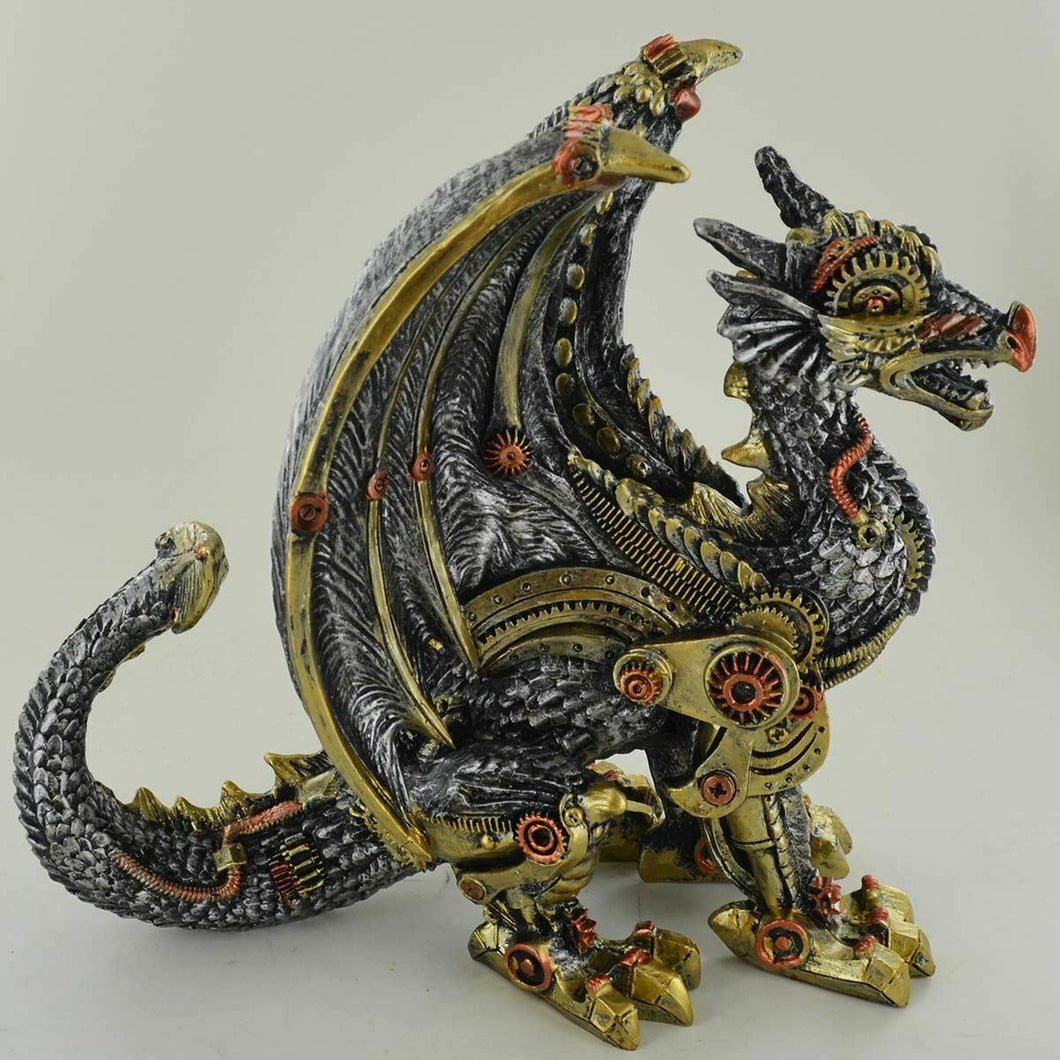 Steampunk Dragon Sculpture Ornament Fantasy Statue Mystical Figurine