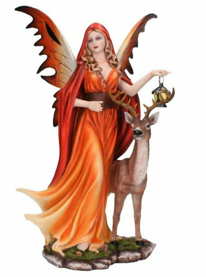 Spirit of Autumn Fantasy Fairy Standing with Stag Figurine Statue Sculpture Gift