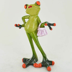 Comical Frogs Glamorous Small Resin Figurine Ornament Home Decoration or Gift