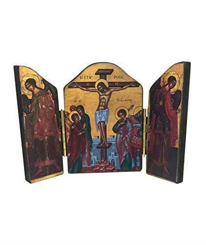 Crucifixion of Jesus Christ Triptych Icon Style Religious Wall Plaque Decor