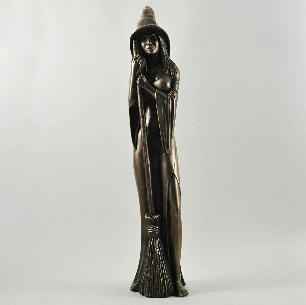 Large Bronze Witch Sculpture Statue Pagan Figure Witchcraft Wicca Ornament 44 cm